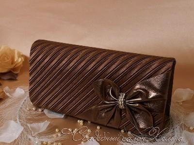 сумочка клатч в шоколадных тонах