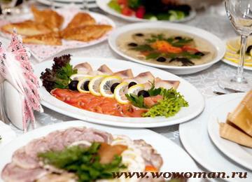 Холодные закуски на свадебном столе
